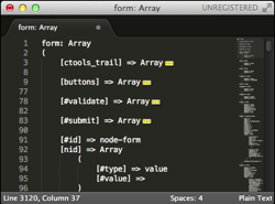 Sublime Text 2 folding an array